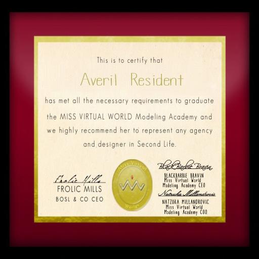 MVW Modeling Academy Grad Certificate - Averil Resident