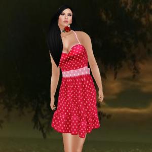 kaithleen's frock dress polka dot red_001