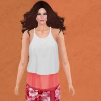 kalili skirt in flamingo, with wynn shirt in snow
