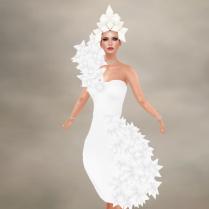 Swanky dress and headpiece