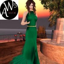 Glitter Dance night dress in Emerald
