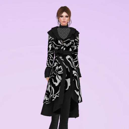 Jasmine coat in Black and white